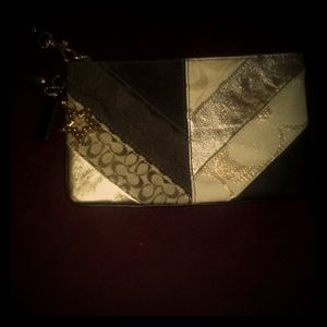 Coach Patchwork Brown And Gold Large Wristlet